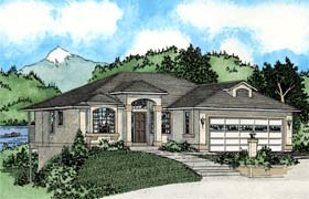 House Plan 99926 | Southwest Style Plan with 1463 Sq Ft, 3 Bedrooms, 2 Bathrooms, 2 Car Garage Elevation