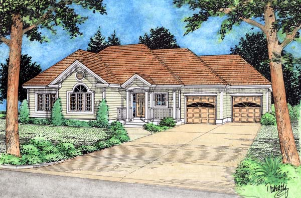 European House Plan 99928 Elevation
