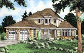 Bungalow , European House Plan 99929 with 4 Beds, 3 Baths, 2 Car Garage Elevation