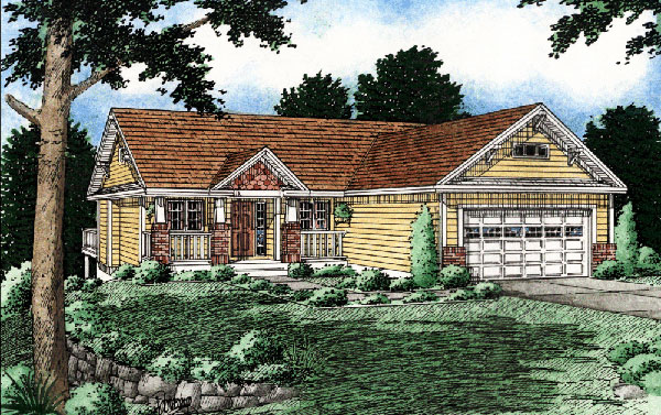 One-Story, Ranch House Plan 99930 with 3 Beds, 2 Baths, 2 Car Garage Elevation