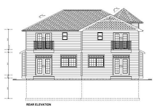 Victorian Multi-Family Plan 99937 Rear Elevation