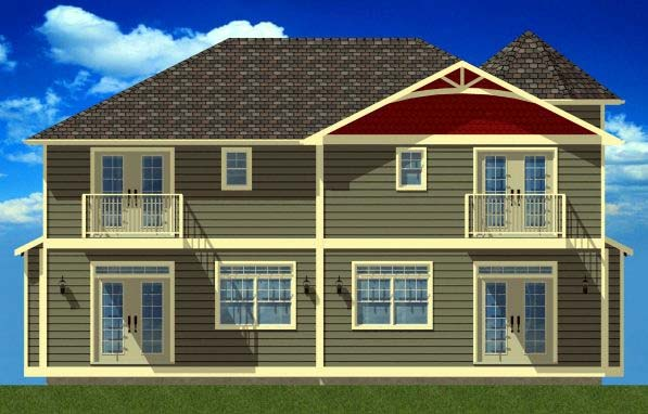Victorian Multi-Family Plan 99938 Rear Elevation