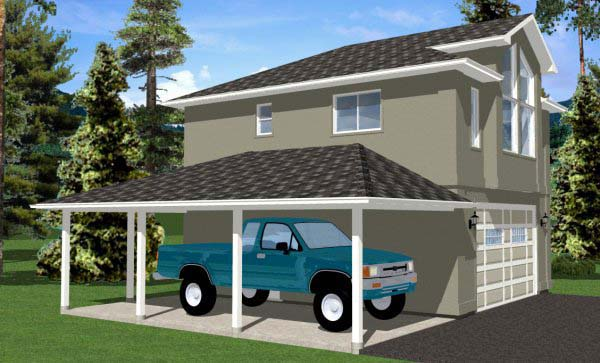 3 Car Garage Apartment Plan 99942 with 1 Beds, 1 Baths Picture 1