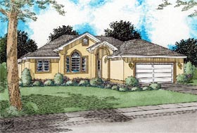House Plan 99945 | Florida Style Plan with 1626 Sq Ft, 3 Bedrooms, 2 Bathrooms, 2 Car Garage Elevation