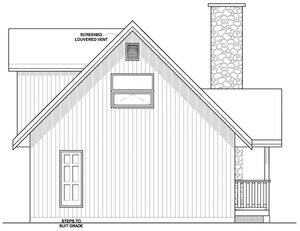 A-Frame Rear Elevation of Plan 99946