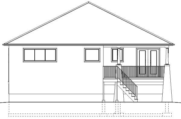Traditional House Plan 99950 with 3 Beds, 2 Baths, 2 Car Garage Rear Elevation