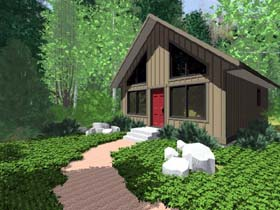 Cabin , Contemporary House Plan 99953 with 2 Beds, 1 Baths Elevation
