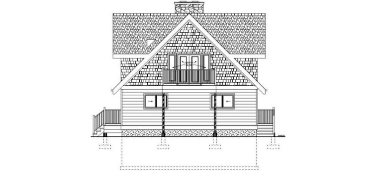 A-Frame Rear Elevation of Plan 99961
