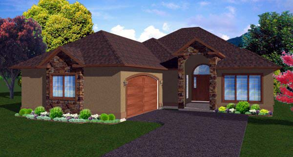 House Plan 99965 with 3 Beds, 3 Baths, 2 Car Garage Elevation
