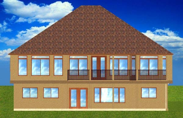 House Plan 99965 with 3 Beds, 3 Baths, 2 Car Garage Rear Elevation