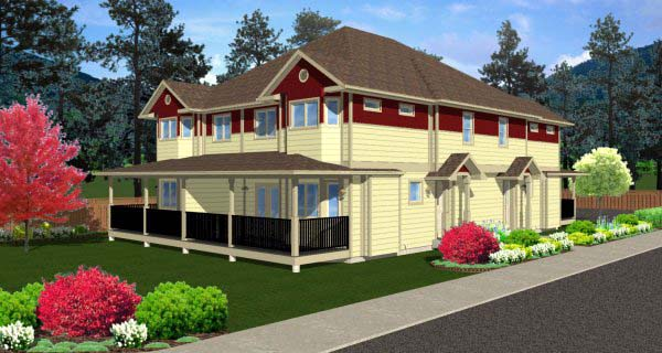 Multi-Family Plan 99966 Elevation