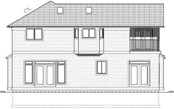Rear Elevation of Plan 99969