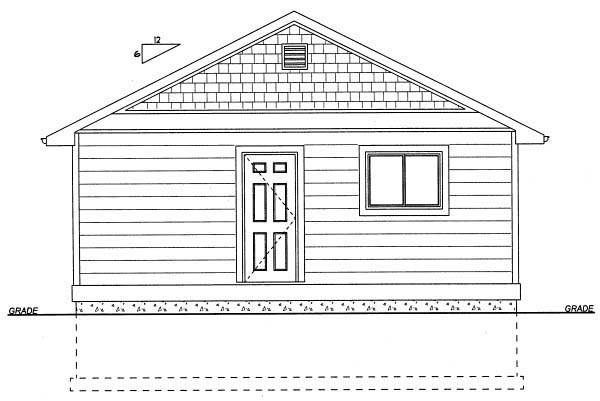 Cottage Rear Elevation of Plan 99971