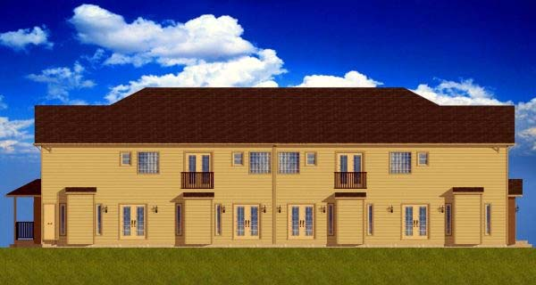 Multi-Family Plan 99973 Rear Elevation