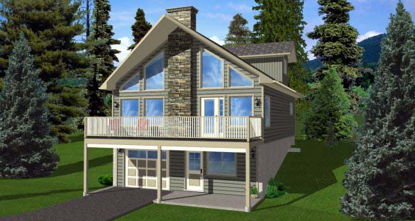 A-Frame House Plan 99975 with 3 Beds, 2 Baths, 1 Car Garage Elevation