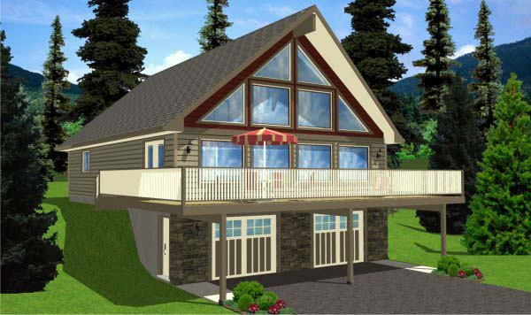 A-Frame House Plan 99976 with 4 Beds, 3 Baths, 2 Car Garage Picture 1
