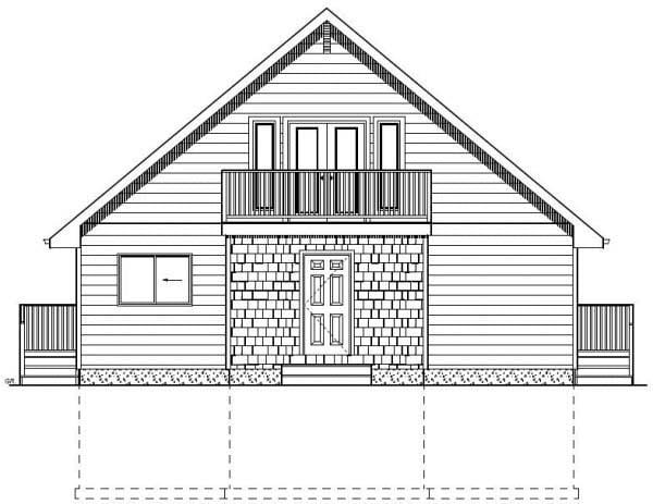 A-Frame House Plan 99976 with 4 Beds, 3 Baths, 2 Car Garage Rear Elevation