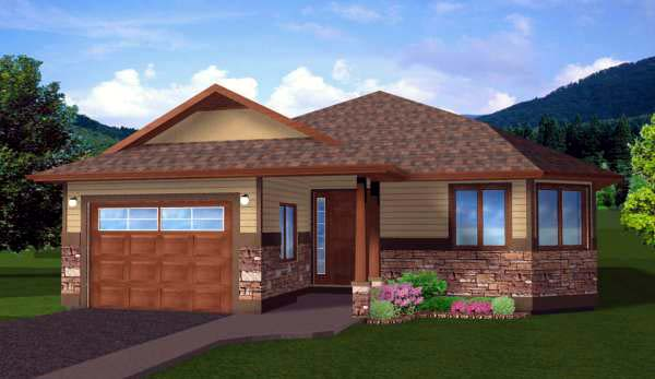 Craftsman House Plan 99977 with 3 Beds, 2 Baths, 1 Car Garage Elevation