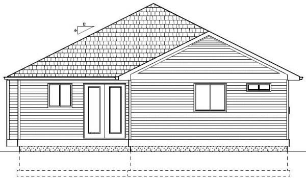Craftsman Rear Elevation of Plan 99977