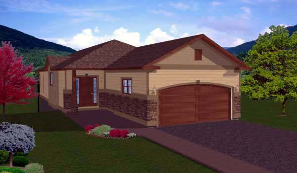 Ranch House Plan 99979 with 5 Beds, 3 Baths, 2 Car Garage Elevation