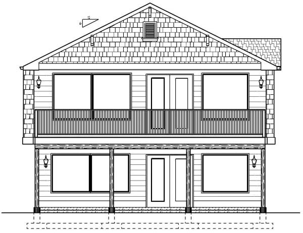 Ranch , Rear Elevation of Plan 99979
