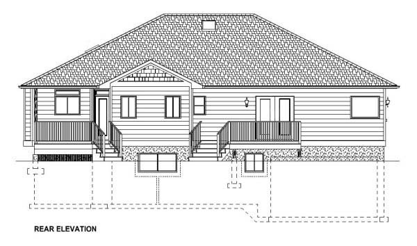 Craftsman Ranch House Plan 99984 Rear Elevation