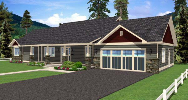 Country, Ranch House Plan 99989 with 2 Beds, 3 Baths, 2 Car Garage Picture 1