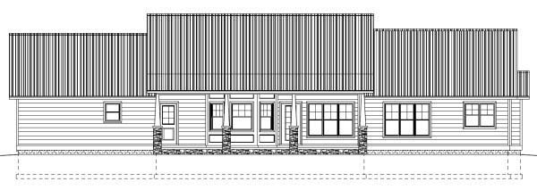Country Ranch Rear Elevation of Plan 99989