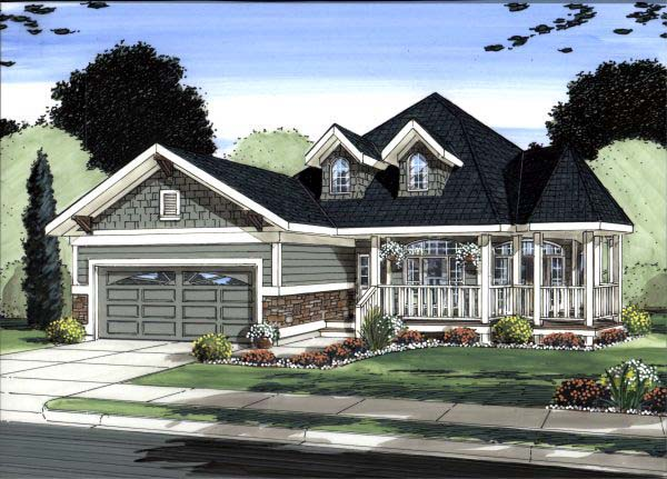 Traditional House Plan 99990 with 5 Beds, 3 Baths, 2 Car Garage Elevation