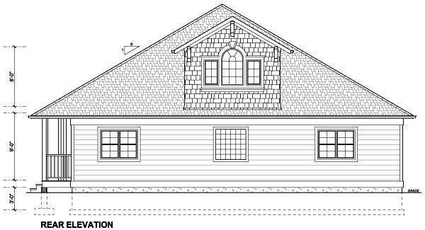Traditional House Plan 99990 with 5 Beds, 3 Baths, 2 Car Garage Rear Elevation