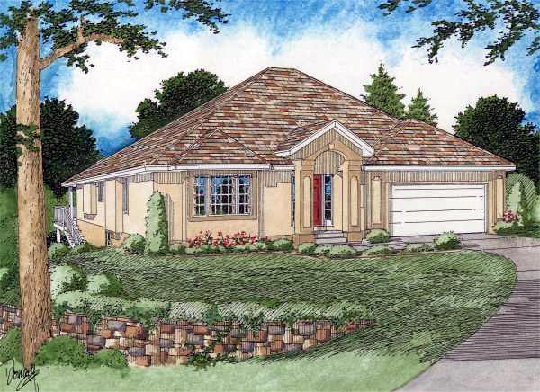 European House Plan 99993 with 2 Beds, 2 Baths, 2 Car Garage Elevation