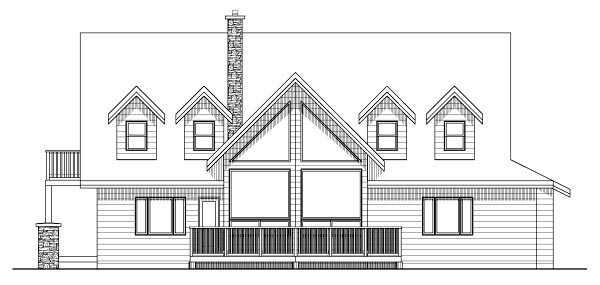 Country House Plan 99994 with 3 Beds, 3 Baths, 3 Car Garage Rear Elevation