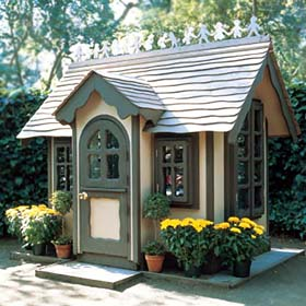 Project plan 500272 storybook playhouse for Playhouse with garage plans