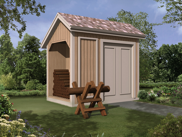 Storage Shed with Log Bin