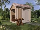 Storage Shed with Log Bin