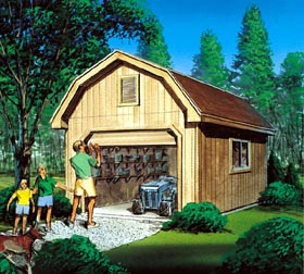 Barn Storage Shed with Overhead Door  - Project Plan 85922