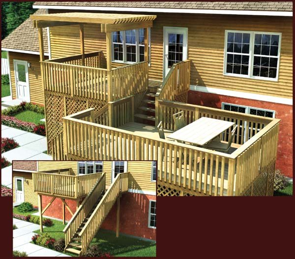 Project plan 90006 modular split level deck for Split level project homes