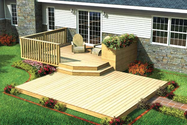 Project Plan 90009 Split Level Patio Deck W Planter