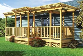 Parallel Porch Deck w/ Trellis and Porch Swing