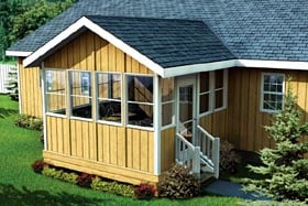 Three-Season Porch With Gable Roof - Project Plan 90034