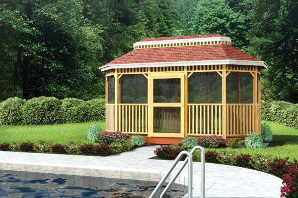 90037 - Large Oval Shaped Gazebo