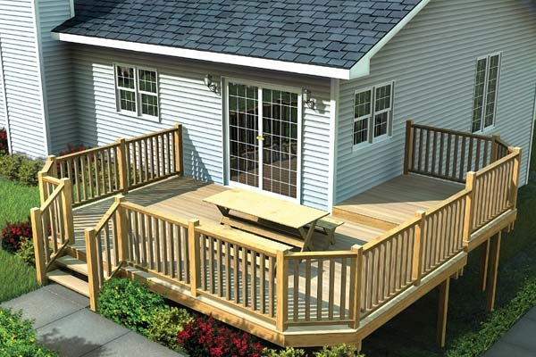 Multi-Level Deck w/ Angle Corners - Project Plan 90041
