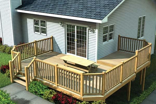 Multi-Level Deck w/ Angle Corners - Project Plan 90041